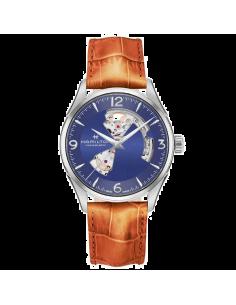 Chic Time | Montre Hamilton H32705041 Jazzmaster Open Heart automatique H-10 acier sur cuir gold 42 mm  | Prix : 940,50€