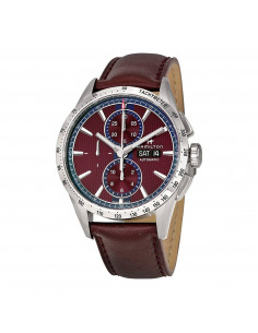 Chic Time | Montre Hamilton H43516871 Broadway automatique chronographe acier sur cuir bordeaux 43 mm  | Prix : 1,743.00