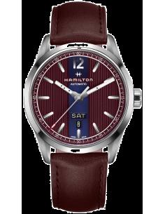 Chic Time | Montre Hamilton H43515875 Broadway automatique day-date acier sur cuir bordeaux 42 mm  | Prix : 782,10€