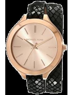 Chic Time | Montre Femme Michael Kors Slim Runway MK2322 Double bracelet en cuir croco noir  | Prix : 119,40€