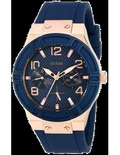 Chic Time | Montre Femme Guess Jet Setter W0571L1 Silicone bleu et acier or rose  | Prix : 159,98€