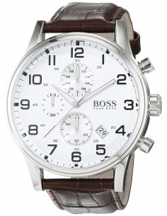 Chic Time | Montre Hugo Boss Aeroliner 1512447 Bracelet en cuir marron  | Prix : 179,40 €