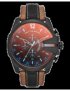 Chic Time | Montre Homme Diesel mega chief DZ4305 Bracelet cuir brun et tissu noir  | Prix : 205,90€