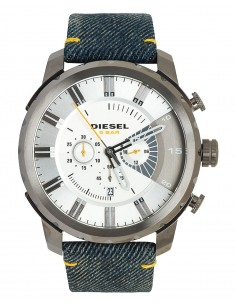 Chic Time | Montre Homme Diesel Stronghold Denim DZ4345 Bracelet jeans finitions jaunes  | Prix : 203,15 €