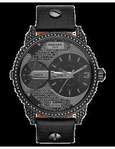 Chic Time | Montre Homme Diesel Mini Daddy DZ7328 Strass noirs et bracelet en cuir noir  | Prix : 254,15€