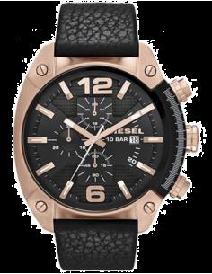 Chic Time | Montre Homme Diesel Overflow DZ4297 Boîtier Or rose et cuir noir  | Prix : 169,15€
