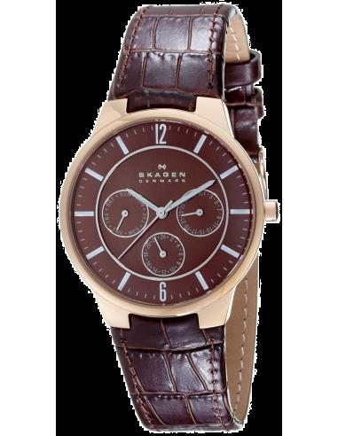 Chic Time | Montre Homme Skagen Klassik 331XLRLD Cuir Brun Imitation Croco  | Prix : 107,40€