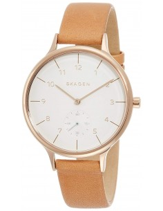 Chic Time | Montre Femme Skagen Anita SKW2405 Bracelet Cuir Marron fond blanc  | Prix : 116,35€