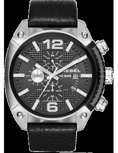 Chic Time | Montre Homme Diesel Overflow DZ4341 Bracelet En Cuir Noir aspect rugueux  | Prix : 279,00€