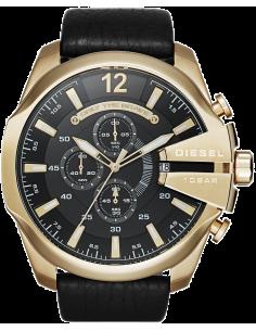 Chic Time | Montre Homme Diesel Mega Chief DZ4344 Bracelet en cuir aspect rugueux ton noir  | Prix : 207,20€