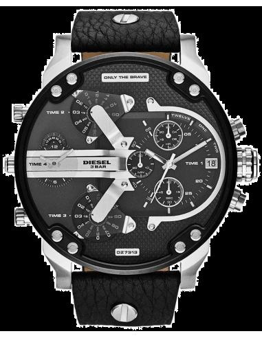 Chic Time | Montre Homme Diesel Mr Daddy 2.0 DZ7313 Bracelet en cuir noir et rehauts argentés  | Prix : 244,30€