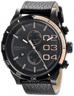 Chic Time   Montre Homme Diesel Double Down DZ4327 Cuir et plaque tachymètre or rose    Prix : 194,65€