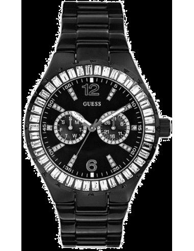 Chic Time | Montre Guess Femme WaterPro Chill Noir Strass Baguettes Swarovski  | Prix : 239,90€