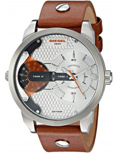 Chic Time | Montre Homme Diesel Mini Daddy DZ7309 Bracelet en cuir marron cadran finition alu  | Prix : 211,65€