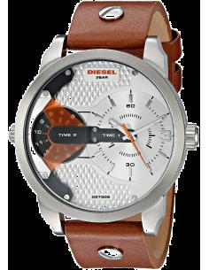 Chic Time | Montre Homme Diesel Mini Daddy DZ7309 Bracelet en cuir marron cadran finition alu  | Prix : 149,40€