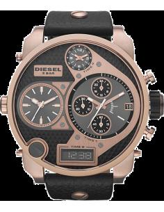 Chic Time | Montre Homme Diesel XXL Big Dady DZ7261 Cuir Noir & Or Rose  | Prix : 246,75€