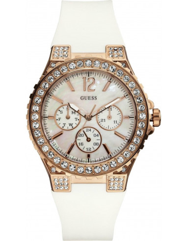Chic Time | Montre Guess Femme W16577L1 Overdrive Glam Blanc & Or  | Prix : 229,00 €