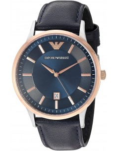 Chic Time | Montre Emporio Armani Dress AR2506 Bracelet cuir bleu  | Prix : 171,75 €
