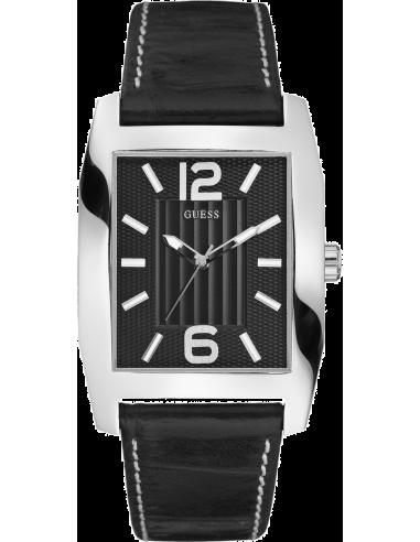 Chic Time | Montre Homme Guess W70023G1 Bracelet Cuir Noir à Surpiqûres  | Prix : 139,00€