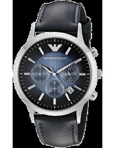 Chic Time | Montre Homme Emporio Armani Classic AR2473 bracelet perforé cuir bleu  | Prix : 179,40€