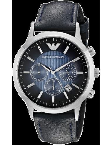 Chic Time | Montre Homme Emporio Armani AR2473 bracelet perforé cuir bleu  | Prix : 209,25€