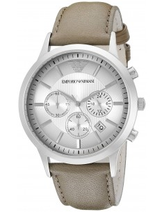 Chic Time | Montre Emporio Armani Renato AR2471 Bracelet marron en cuir  | Prix : 149,50€