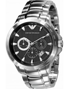 Chic Time | Montre Homme Emporio Armani AR0636 Chrono argenté à cadran guilloché noir  | Prix : 230,30€