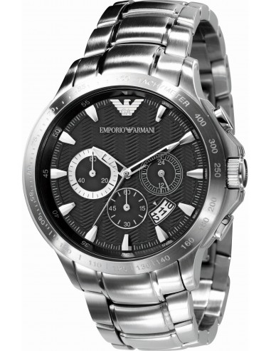 Chic Time | Montre Homme Emporio Armani Giovanni AR0636 Chrono argenté à cadran guilloché noir  | Prix : 329,00€