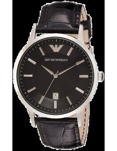 Chic Time | Montre Homme Emporio Armani Classic AR2411 Cadran rond et noir et bracelet en cuir noir  | Prix : 109,50€