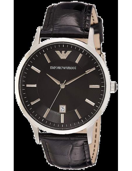 Chic Time | Montre Homme Emporio Armani AR2411 Cadran rond et noir et bracelet en cuir noir  | Prix : 109,50€