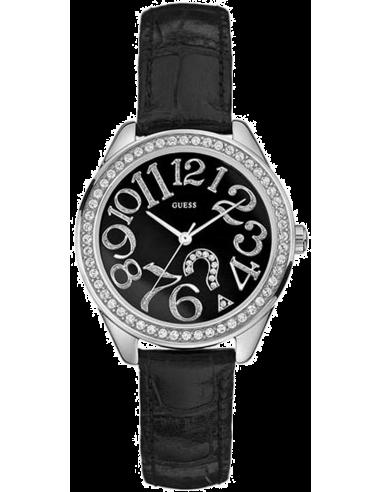 Chic Time | Montre Guess Femme Glitz G76030L Bracelet En Cuir Noir  | Prix : 209,00€