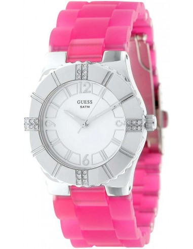 Chic Time | Montre Guess Femme Glow W95087L1 Bracelet caoutchouc rose  | Prix : 189,00€