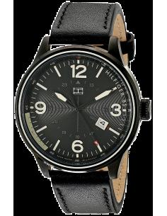 Chic Time | Montre Homme Tommy Hilfiger Peter 1791103 Bracelet coloris noir en cuir  | Prix : 169,00€