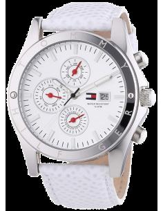 Chic Time | Montre Femme Tommy Hilfiger 1780726 Bracelet blanc en cuir motifs peau de lézard  | Prix : 179,00€