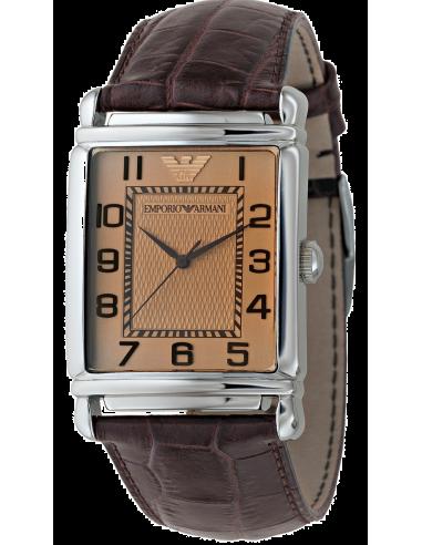 Chic Time | Montre Homme Emporio Armani AR0402 Rectangulaire Marron  | Prix : 262,90€