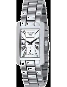 Chic Time | Montre Femme Emporio Armani AR0146 cadran rectangulaire argenté  | Prix : 191,20€