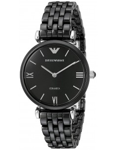 Chic Time | Montre Femme Emporio Armani Retro AR1487 Bracelet noir en céramique   | Prix : 469,00€