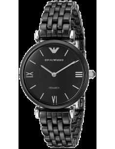 Chic Time | Montre Femme Emporio Armani Retro AR1487 Bracelet noir en céramique  | Prix : 269,40€