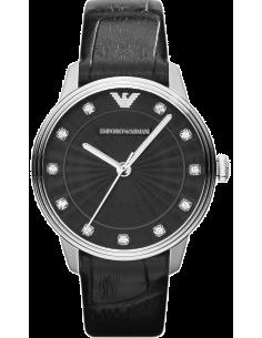 Chic Time | Montre Emporio Armani AR1618 Bracelet En Cuir Noir façon croco  | Prix : 229,00€