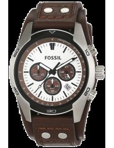 Chic Time | Montre Homme Fossil Coachman CH2565 Bracelet de force en cuir marron  | Prix : 149,25€