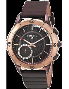 Chic Time | Montre Connectée Fossil Q Modern Pursuit FTW1146 Bracelet Cuir Brun  | Prix : 199,00€