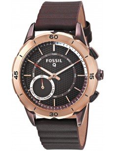 Chic Time | Montre Connectée Fossil Q Modern Pursuit FTW1146 Bracelet Cuir Brun  | Prix : 199,00 €