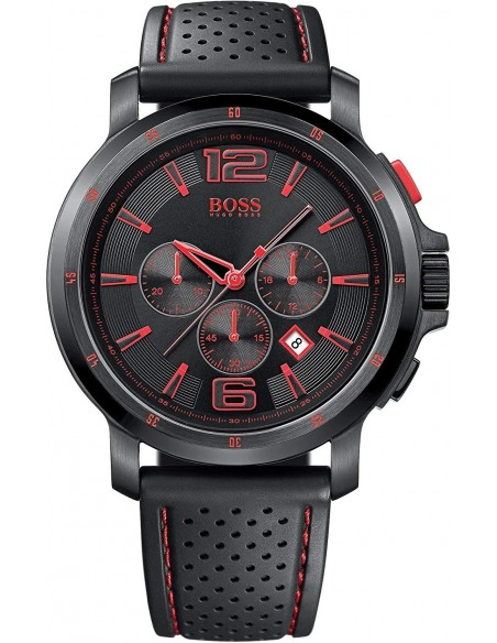 Chic Time | Montre Hugo Boss Black 1512597 Bracelet en silicone perforé noir  | Prix : 299,00 €
