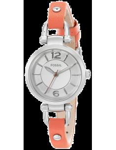 Chic Time | Montre Femme Fossil Georgia ES3742 Bracelet fin ton Corail En Cuir   | Prix : 49,50€