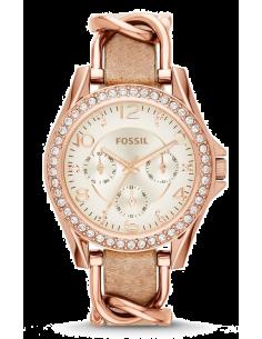 Chic Time | Montre Femme Fossil Riley ES3466 Bracelet en acier et cuir beige  | Prix : 109,00€