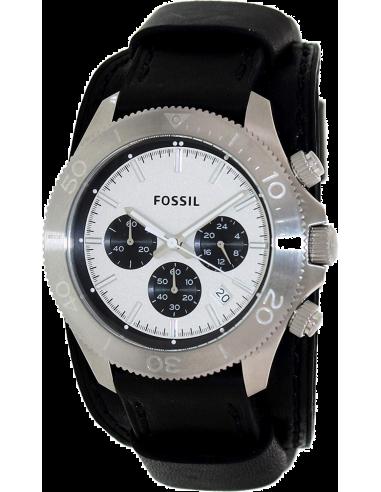 Chic Time | Montre Homme Fossil Retro Traveler CH2856 Bracelet en cuir noir à plaque  | Prix : 115,99€