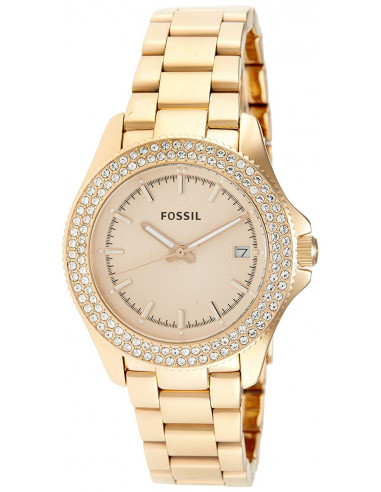 Chic Time | Montre Femme Fossil Retro Traveler AM4454 Or rose poli & strass  | Prix : 189,00 €