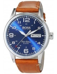 Chic Time | Montre Hugo Boss Pilot 1513331 Bracelet Cuir Marron Cadran Bleu Electrique  | Prix : 194,65€