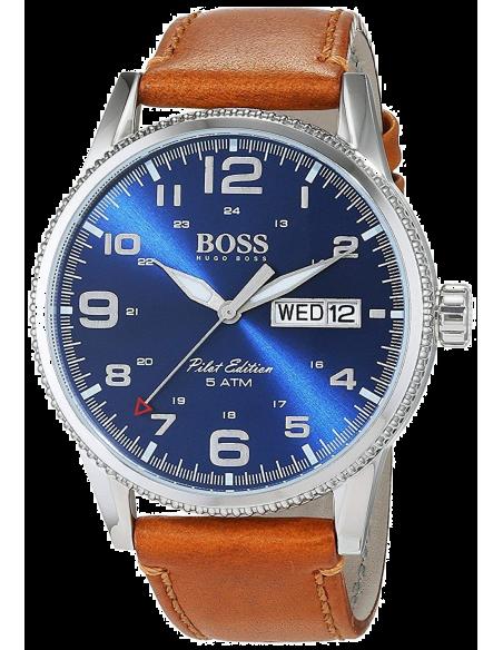 Chic Time   Montre Hugo Boss Pilot 1513331 Bracelet Cuir Marron Cadran Bleu Electrique    Prix : 254,15€