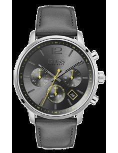 Chic Time | Montre Homme Hugo Boss Attitude 1513658 Chronographe Cuir gris bracelet  | Prix : 299,00€